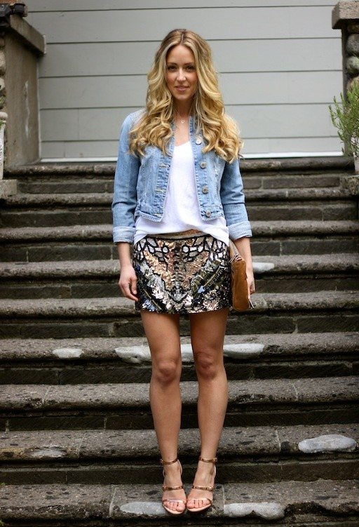 sparkle skirt outfits