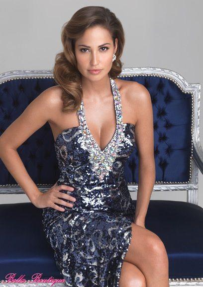 blue silver halter top dress