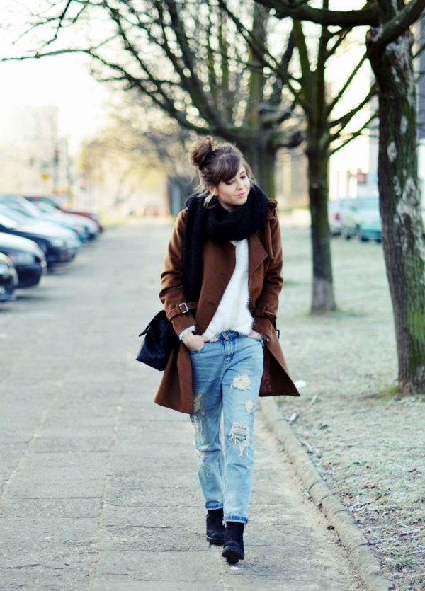 brown coat and distressed boyfriend fit jeans