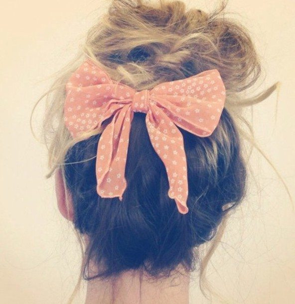 bun hair peach bow