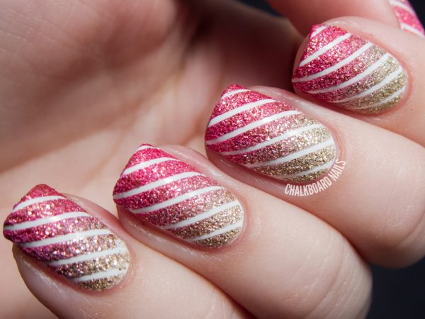 13 hot nail designs you can try to put on be modish chalkboardnails textured tape stripe nail art 4 prinsesfo Choice Image