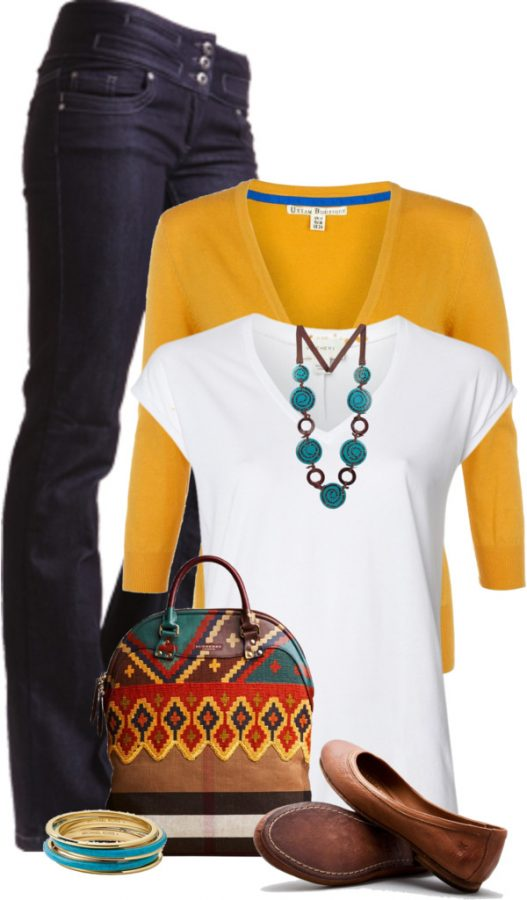 chic yellow cardigan outfit