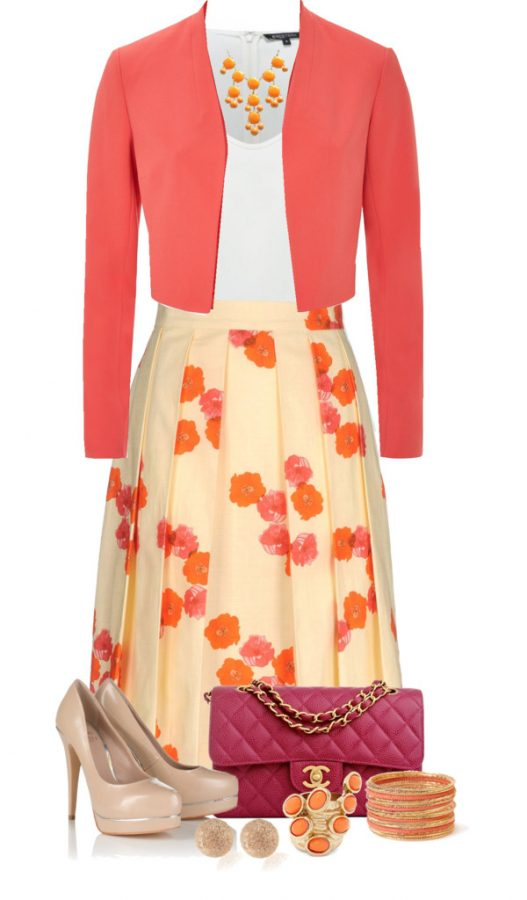 coral and floral for easter outfits 2014