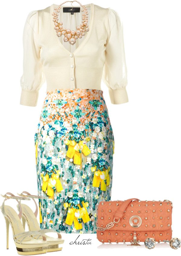 cream and print pencil skirt for your easter outfit 2014