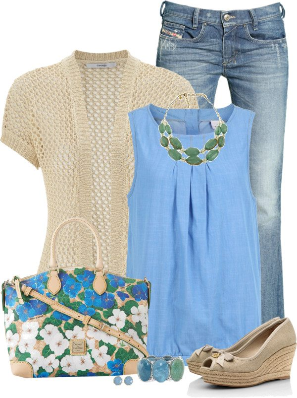 cream cardigan with blue sleeveless blouse