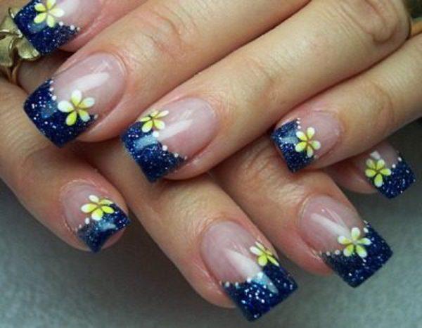 cute blue acrylic nail designs