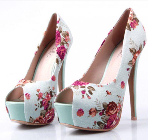 cute-high-heels-floral print
