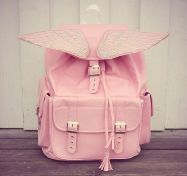cute pink angel wings backpack
