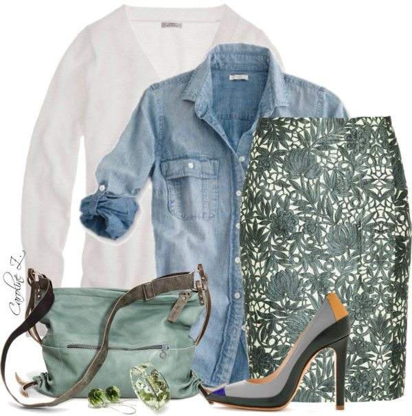 easter outfit with denim blouse