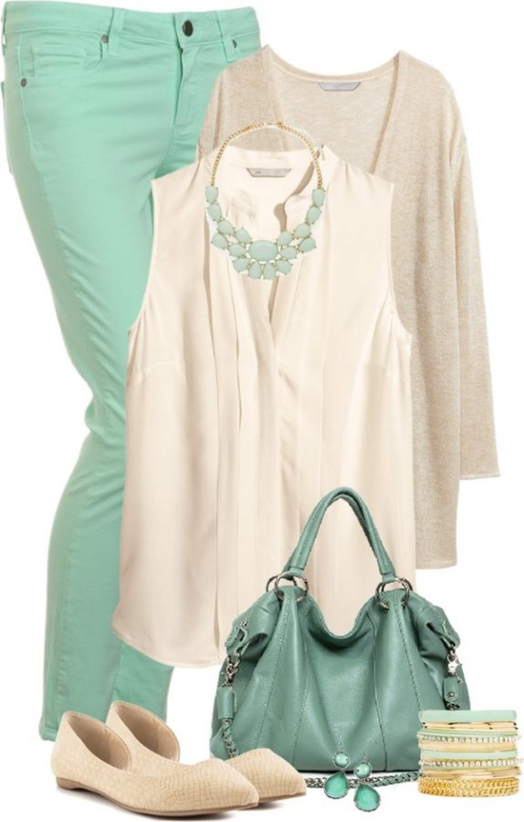 fancy mint and beige top