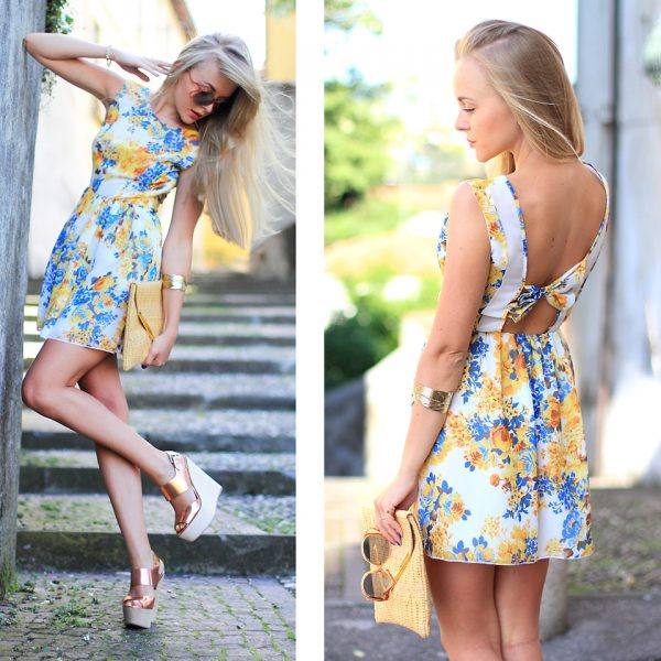floral cute dress spring outfit 2014