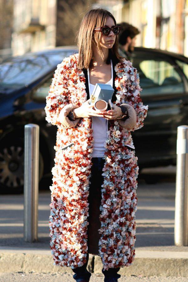 floral long coat milan street style