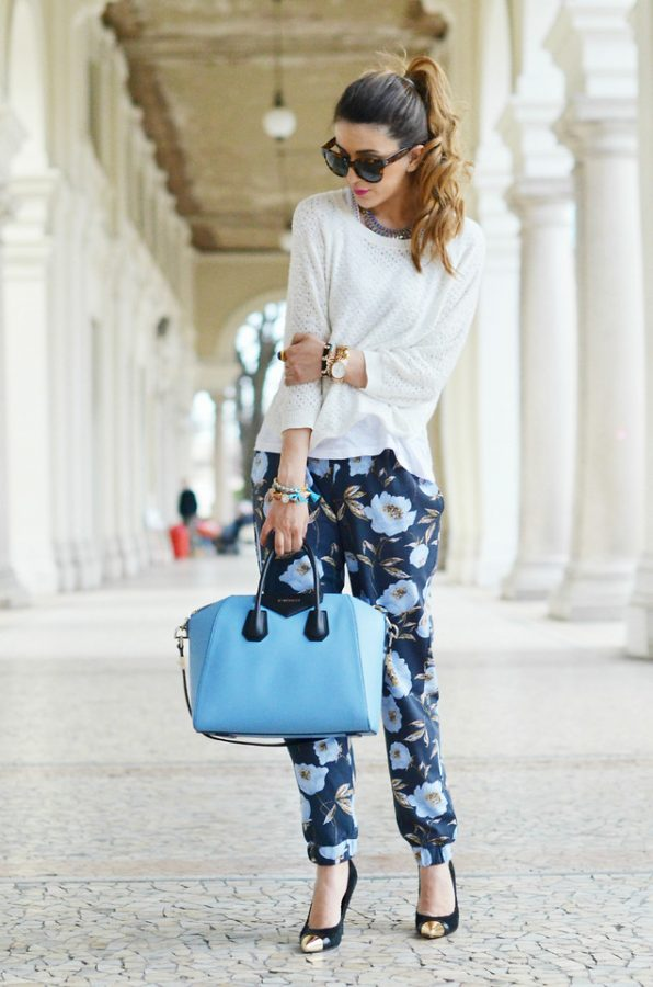 floral pants and sweater spring outfit 2014