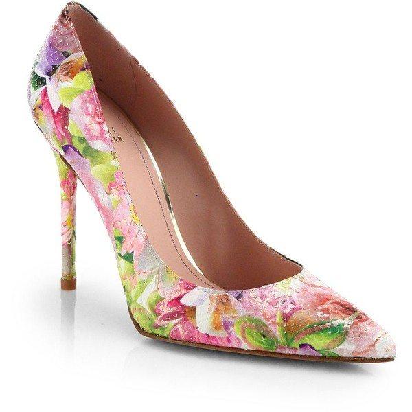pastel floral print high heels