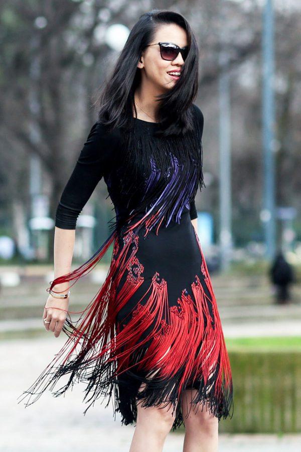 fringe dress on milan street style 2014