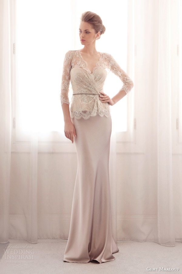 gemy-maalouf-2014-bridal-lace-top-3604-sheath-satin-strapless-dress-3042