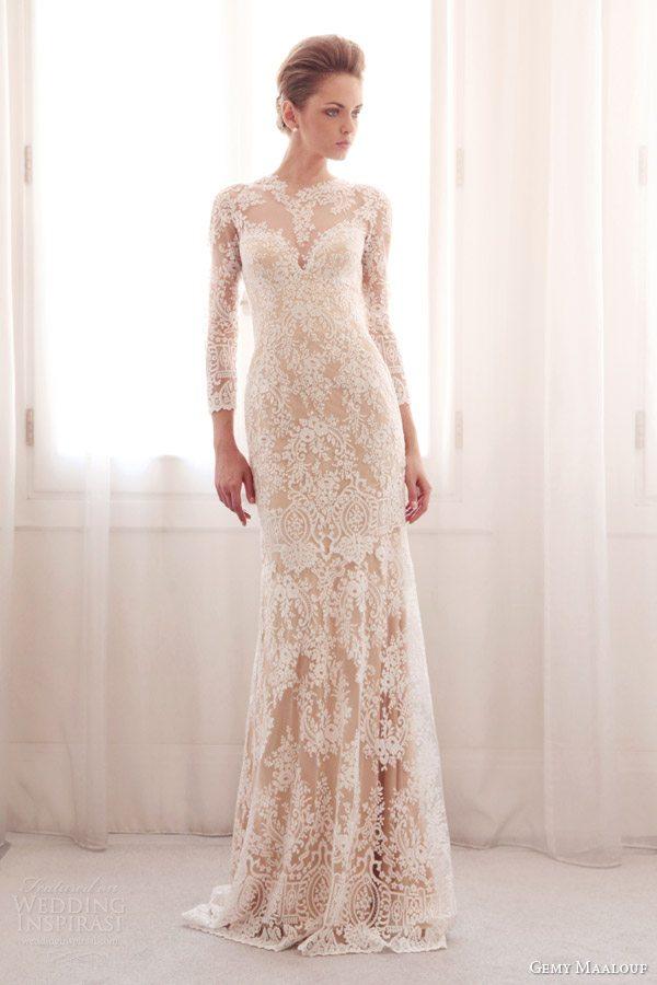 gemy-maalouf-bridal-2014-long-sleeve-lace-wedding-dress-colored-base-3744