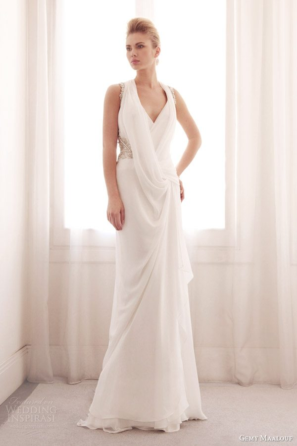 gemy-maalouf-bridal-2014-sleeveless-draped-grecian-style-wedding-dress-3700