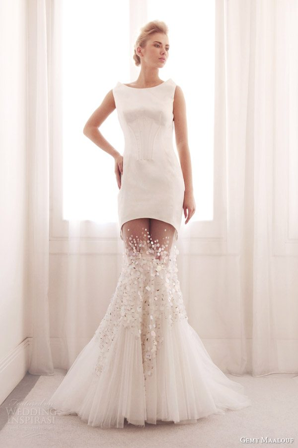gemy-maalouf-bridal-2014-sleeveless-mermaid-wedding-dress-sheer-skirt-3699