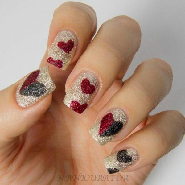 gold glitter valentine nail art