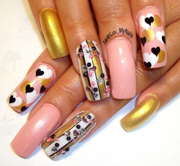 gold pink valentine nail art