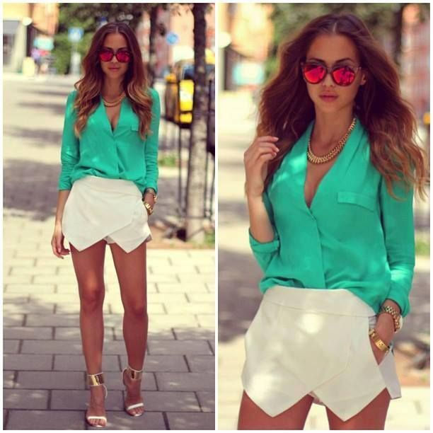 green blouse with white skort