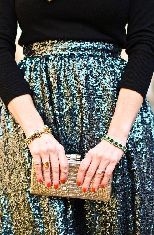 green sparkle skirt