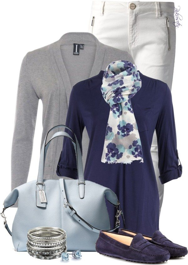 grey cardigan with navy blue shirt