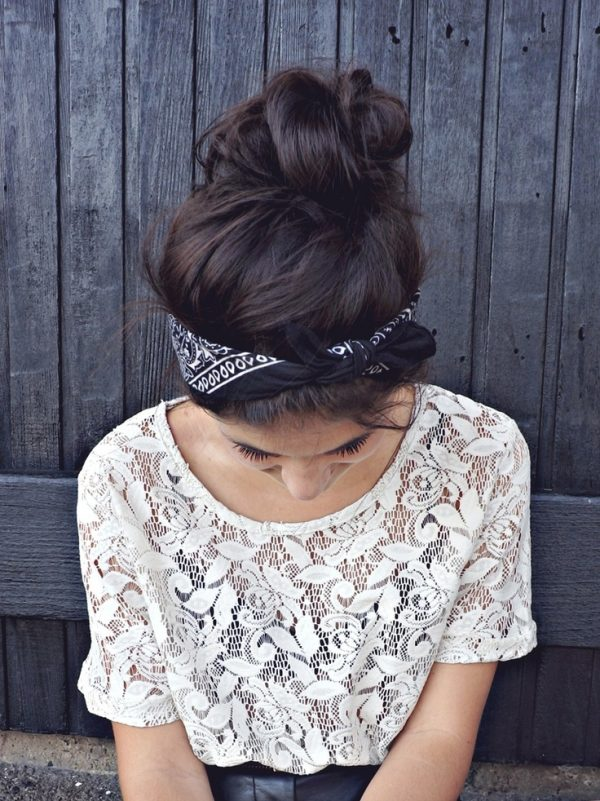 hair bun with bandana