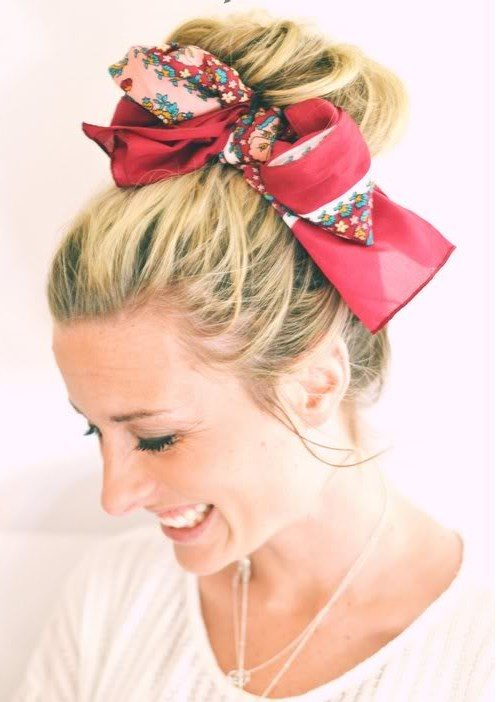hair bun with scarf