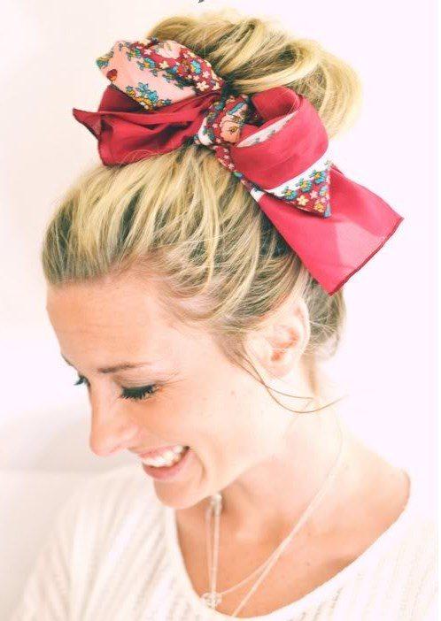 hair bun with scarf