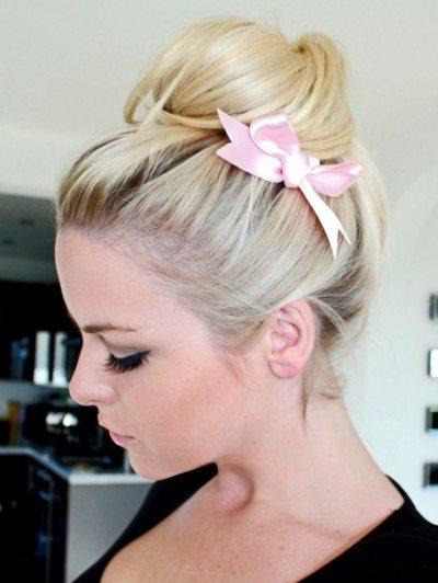 hair bun with side bow