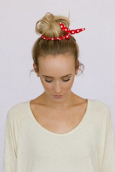 hair bun with small scarf