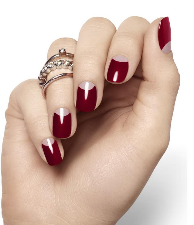 half moon red hot nail art 2014