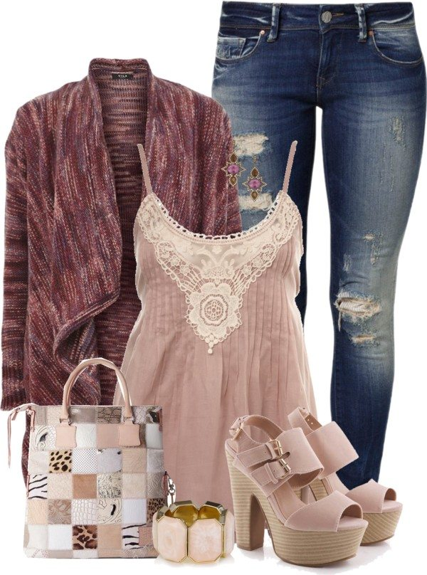 knit long cardigan with lace top