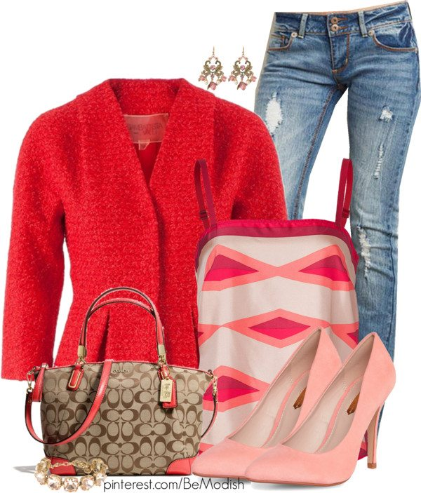 light red cardigan outfit