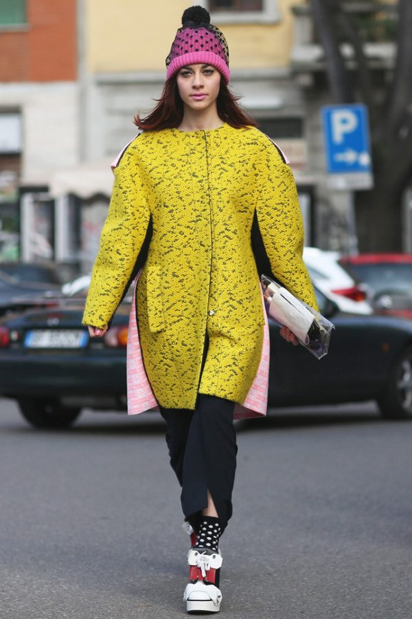 long yellow printed coat street style 2014