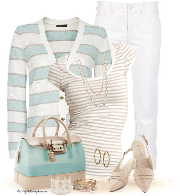 mint blue striped cardigan