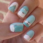 mint pastel nail art design 2014