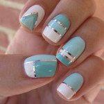 mint pastel nail art design 2014