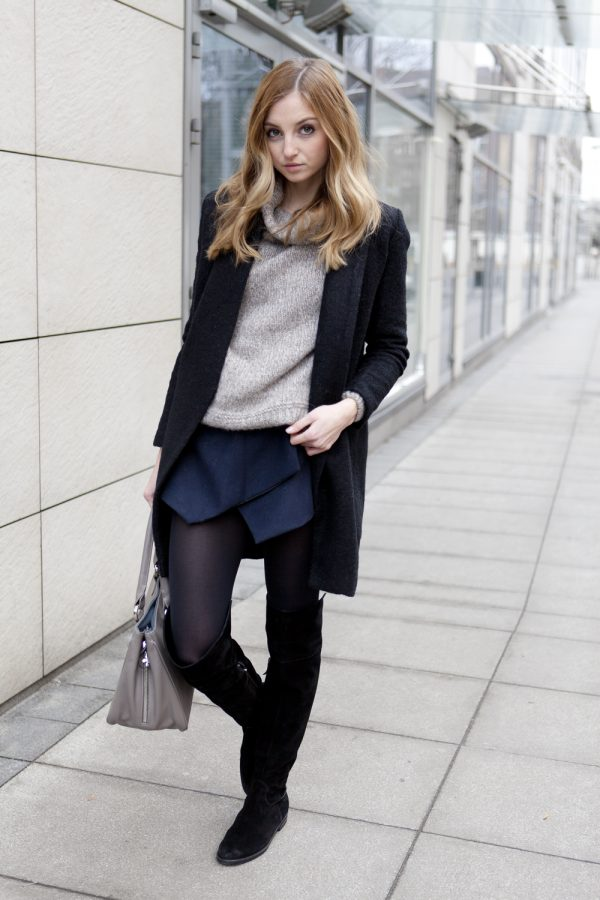 navy winter skort