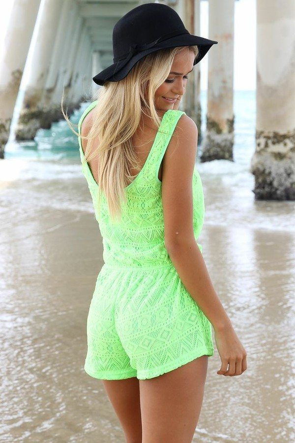 neon green playsuits
