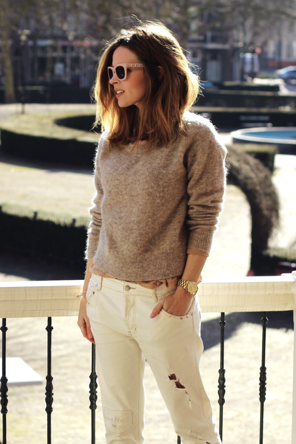 neutral boyfriend fit jeans