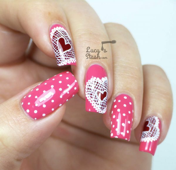 pink valentine day nail art