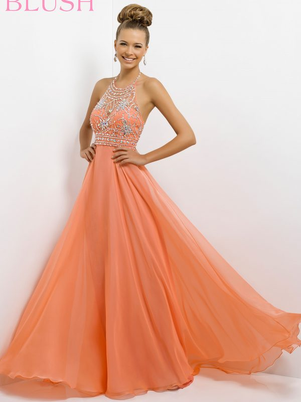 orange jewel halter top dress