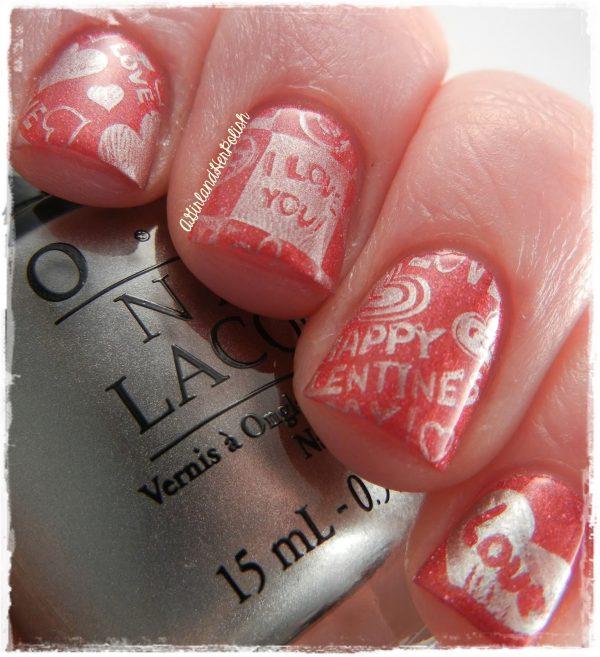 orange valentine nail art