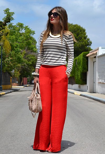 red palazzo pant outfit 14