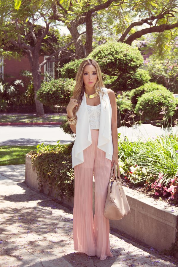pink silk palazzo outfit