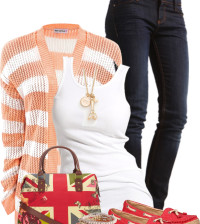 peach striped cardigan outfit