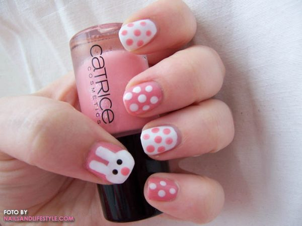 pink cute easter nail art 2